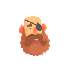 Bearded man face with eye patch cartoon character vector
