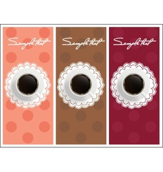 Beautiful card with sweet coffee Dessert set vector image vector image