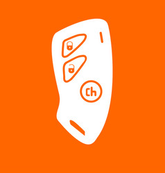 Car key and of the alarm system white icon vector