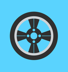 Car wheel flat icon on background vector