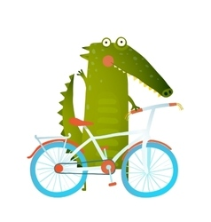 Cartoon green funny crocodile with bicycle vector image vector image