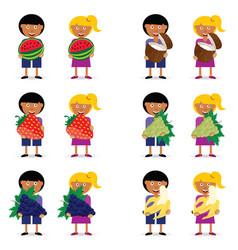 Children holding fruit vector