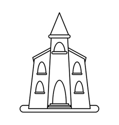 church building religious christian outline vector image