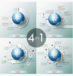 Collection of 4 infographic design templates with vector