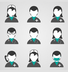 Doctors and medical staff icons set vector