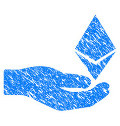 Ethereum offer hand icon grunge watermark vector