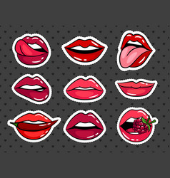female lips stickers set vector image