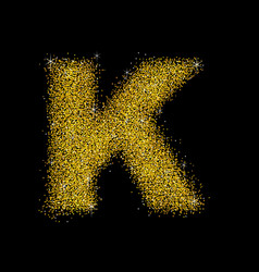 gold dust font type letter k vector image