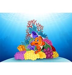 Happy clown fish and beautiful underwater world vector