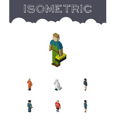 Isometric people set of medic cleaner guy and vector