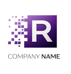 Letter r logo symbol in the colorful square with vector
