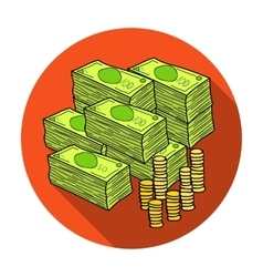 Piles of cash and coins icon in flat style vector