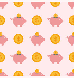save money piggy bank flat design banking vector image