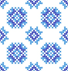 Seamless embroidered texture of abstract blue pat vector