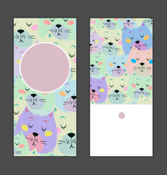 Set of birthday greeting cards with sleeping cat vector