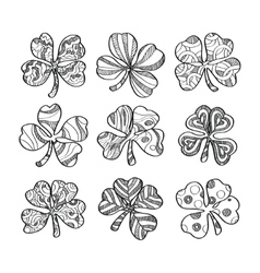Set of hand drawn monochrome shamrock isolated on vector image vector image
