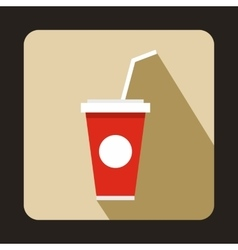 Soft drink in a red paper cup with straw icon vector