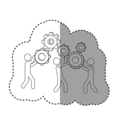 Sticker silhouette pictogram people and industry vector