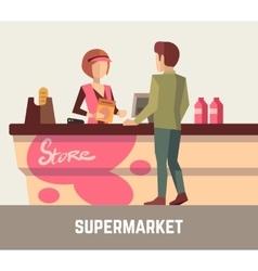 Supermarket store assistant cashier woman at cash vector image vector image
