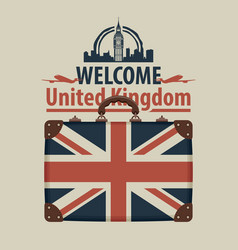 tourist banner with suitcase and flag of uk vector image vector image