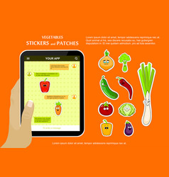 vegetables love stickers on chat application vector image vector image