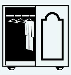 Wardrobe with clothes vector