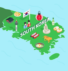 South Korea map isometric 3d style vector image