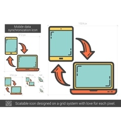 Mobile data synchronization line icon vector