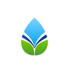 Waterdrop leaf logo water drop and natural leaves vector