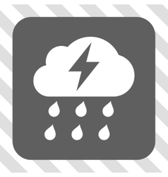 Thunderstorm rounded square button vector
