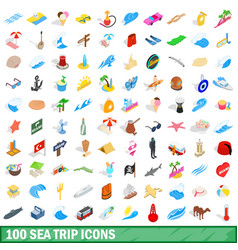100 sea trip icons set isometric 3d style vector image