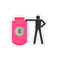 Stylish sticker on paper people and capital vector