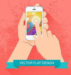 Male hand holding smartphone flat design vector