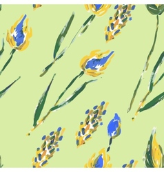 Seamless pattern with flowers and ears vector image