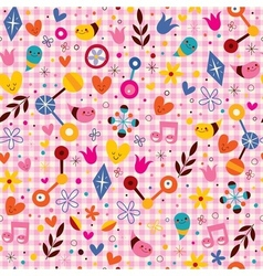 Fun cartoon nature seamless pattern vector