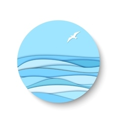 3d paper effect seascape vector image