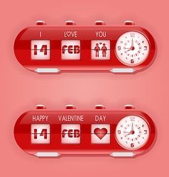 Valentine day with flap clocks and number counter vector