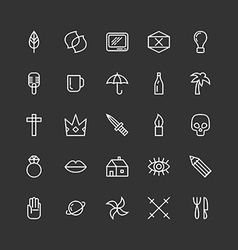 Set of line art icons or symbols for hipster vector