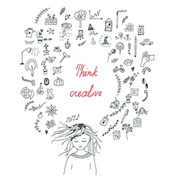 Creative thinking concept with a girl vector image