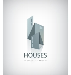3d ribbon abstract houses city vector