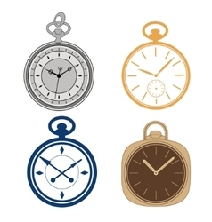 Pocket watch set isolated on white background vector