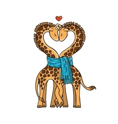 A pair of cute giraffes in love with a common vector