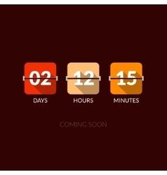 Flip countdown timer clock counter flat vector