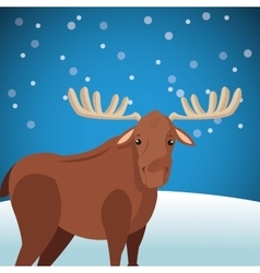 Cute moose wit snowy background image vector