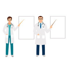 Doctors pointing on presentation board vector