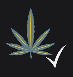 flat hand drawn color botanical of hemp cannabis vector image vector image