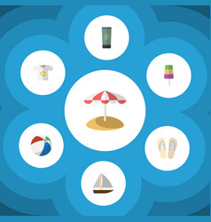 Flat icon season set of beach sandals sundae vector