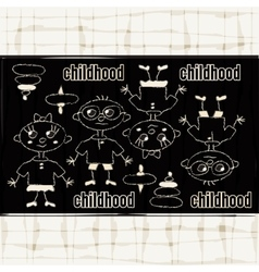 Funny childrens chalk drawing vector