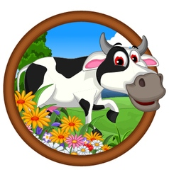Funny cow cartoon posing vector