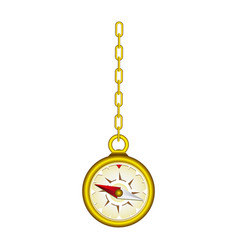 Gold compass hanging icon vector